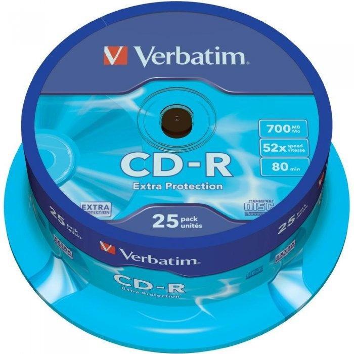 Płyta CD-R VERBATIM CAKE(25) Extra Protection 700MB x52 43432, xck0700284