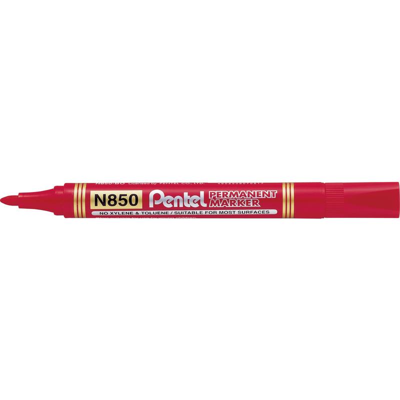 Marker permanentny N850 czerwony okrągła końcówka PENTEL, mak1720059