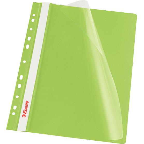 Skoroszyt wpinany ESSELTE zielony 13587 10szt. w folii, skk1190087