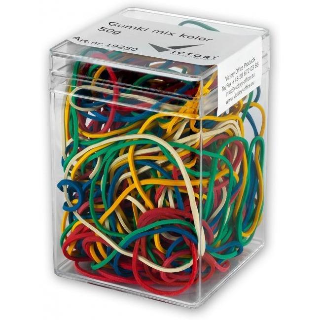 Gumki recepturki VICTORY mix kolor 50g plastikowe pudełko VO26H50G-99, guk0350023