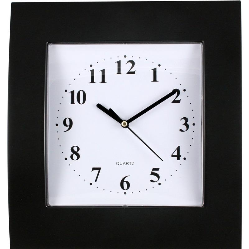 Zegar ścienny plastikowy, 255 mm x 285 mm E01.2499 MPM Czarny z t.białą, UZ 0072362