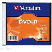 Płyta VERBATIM DVD-R slim jewel case 4, 7GB 16x Matt Silver